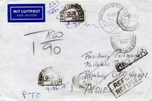 Luftpostbrief von Zürich nach Bombay