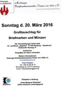 Großtauschtag für Briefmarken und Münzen am 20. März 2016