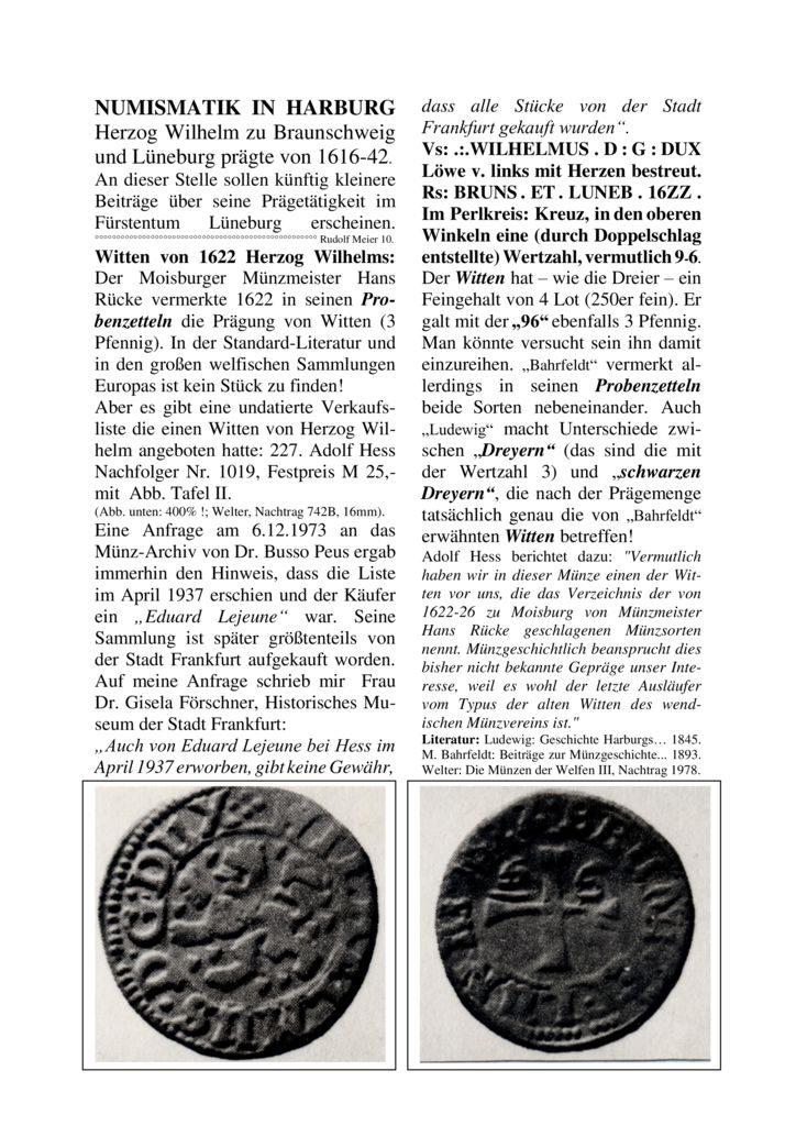 Witten von 1622 Herzog Wilhelms