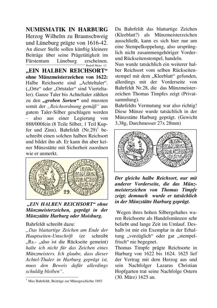 """""""EIN HALBEN REICHSORT"""" ohne Münzmeisterzeichen von 1622"""