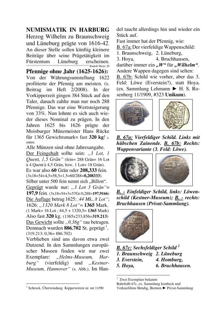 Pfennige ohne Jahr (1625-1626)