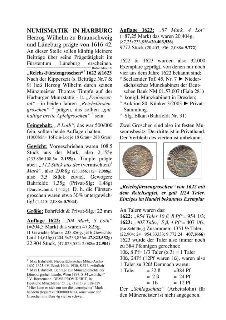 """""""Reichs-Fürstengroschen"""" 1622 & 1623"""