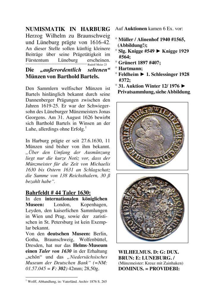 """Die """"außerordentlich seltenen"""" Münzen von Barthold Bartels"""