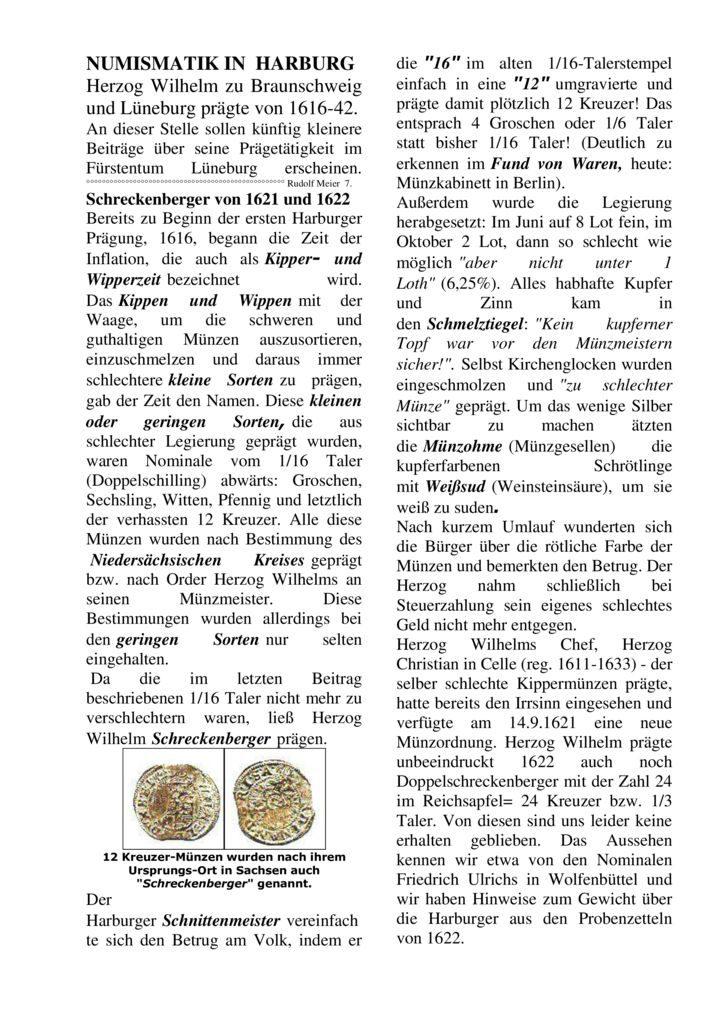 Schreckenberger von 1621 und 1622