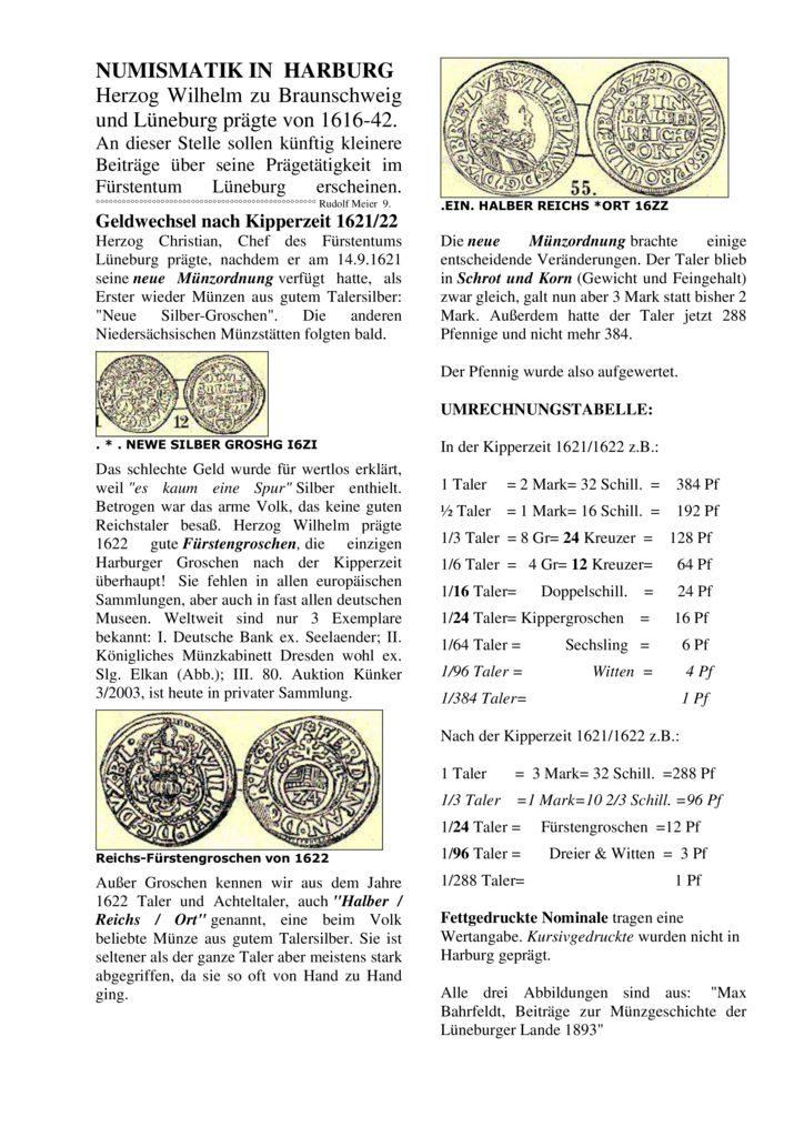 Geldwechsel nach Kipperzeit 1621/22